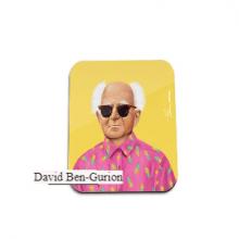 תחתית לספל מגניבה באיור בדמותו של בן גוריון - David Ben-Gurion
