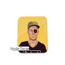 תחתית לספל מגניבה באיור בדמותו של משה דיין - Moshe Dayan