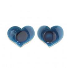 זוג פמוטים בעיצוב לב -בעבודת יד
