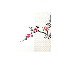 כרטיס ברכה - ענף עץ פרחים באדום