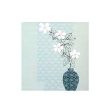 כרטיס ברכה - כד פרחים לבנים ברקע תכלת