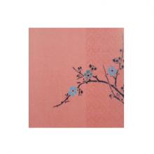 כרטיס ברכה - ענף עץ עם פרחים ברקע ורוד
